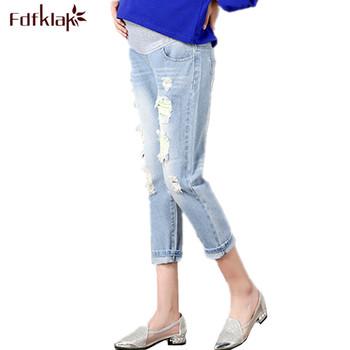 Fdfklak otwory spodnie ciążowe kobiety wiosna lato ubrania ciążowe Plus rozmiar 3XL odzież ciążowa spodnie jeansowe spodnie w ciąży tanie i dobre opinie Macierzyństwo WOMEN REGULAR Distrressed light Z OCTANU COTTON Denim Naturalny kolor Elastyczny pas blue white M L XL XXL 3XL
