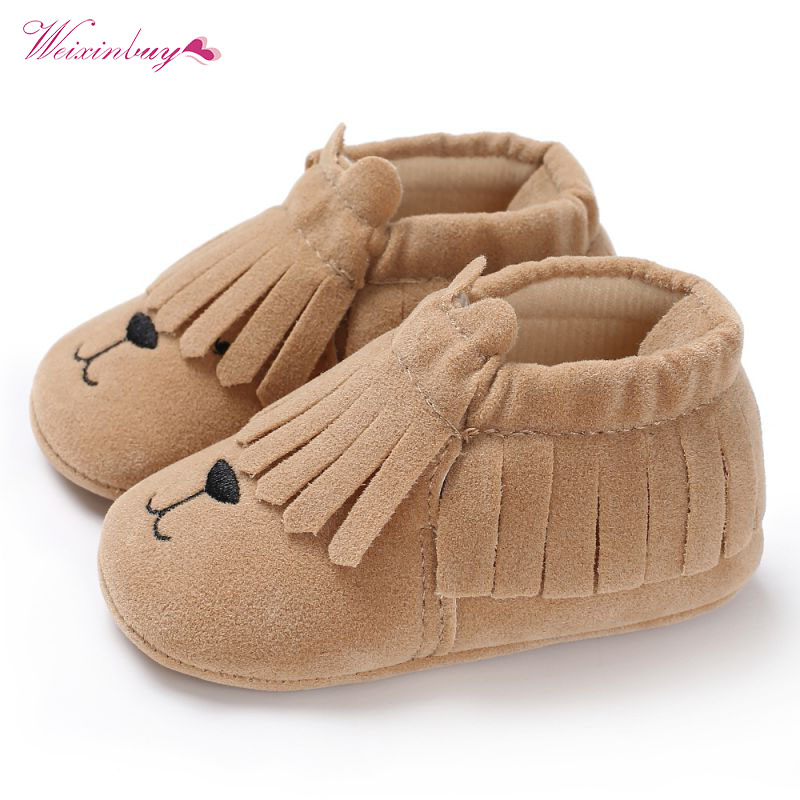 WEIXINBUY Cute Baby Shoes Fringe Baby Moccasins Smile Bear Crib Shoes Soft-soled tassel Sneakers Free Shipping