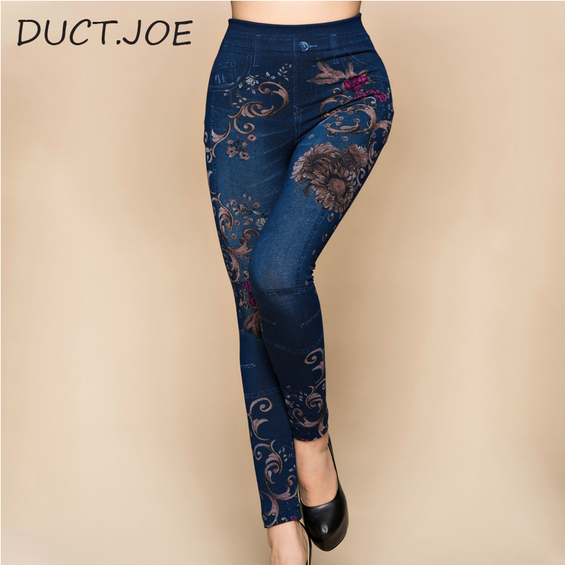 DUCTJOE Leggings Fashion Slim Women Leggings Faux Denim Jeans Leggins Sexy Long Floral Printing Casual Leggings Pencil Leggings
