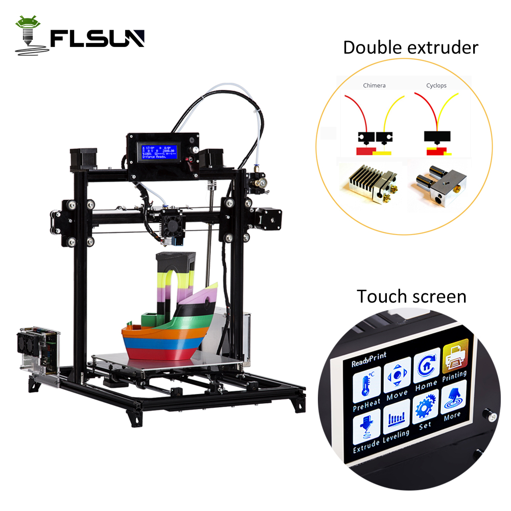Ship from Russian Flsun 3D Printer Large Printing Size I3 3D Printer Touch Screen Dual extruder One roll Filament Sd Card все цены