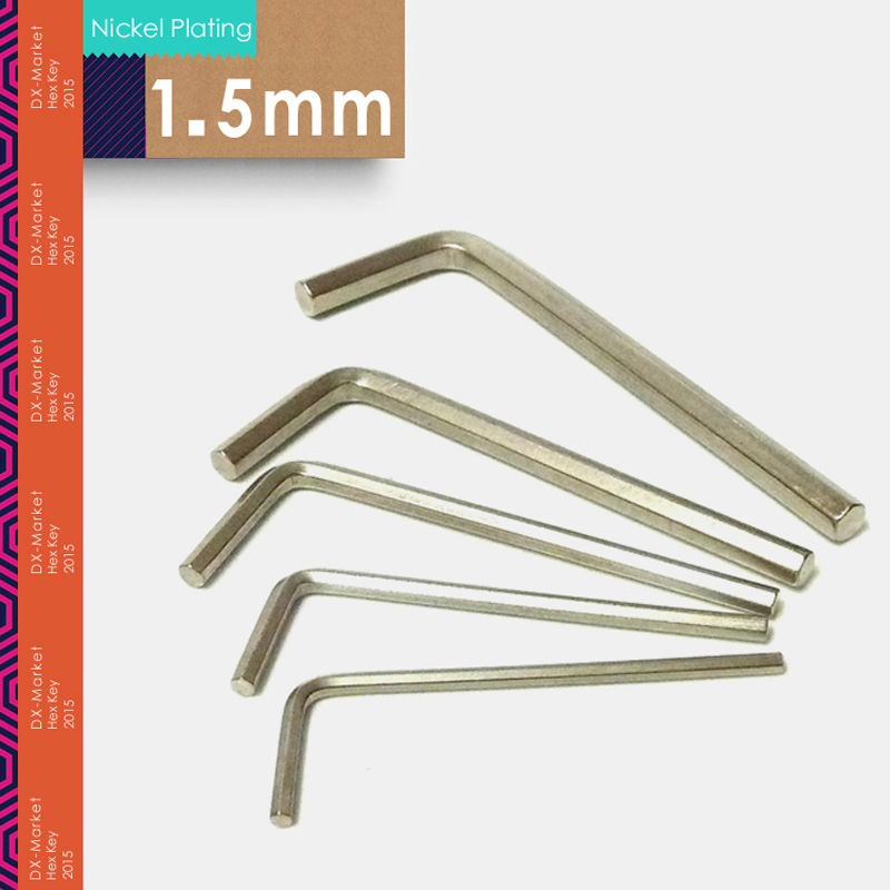 1.5mm , 100pcs/lot ,  Nickel Plated 1.5mm Hex Key , DIY High Quality Hand Tools Allen Wrench , China Fasteners Manufactuer