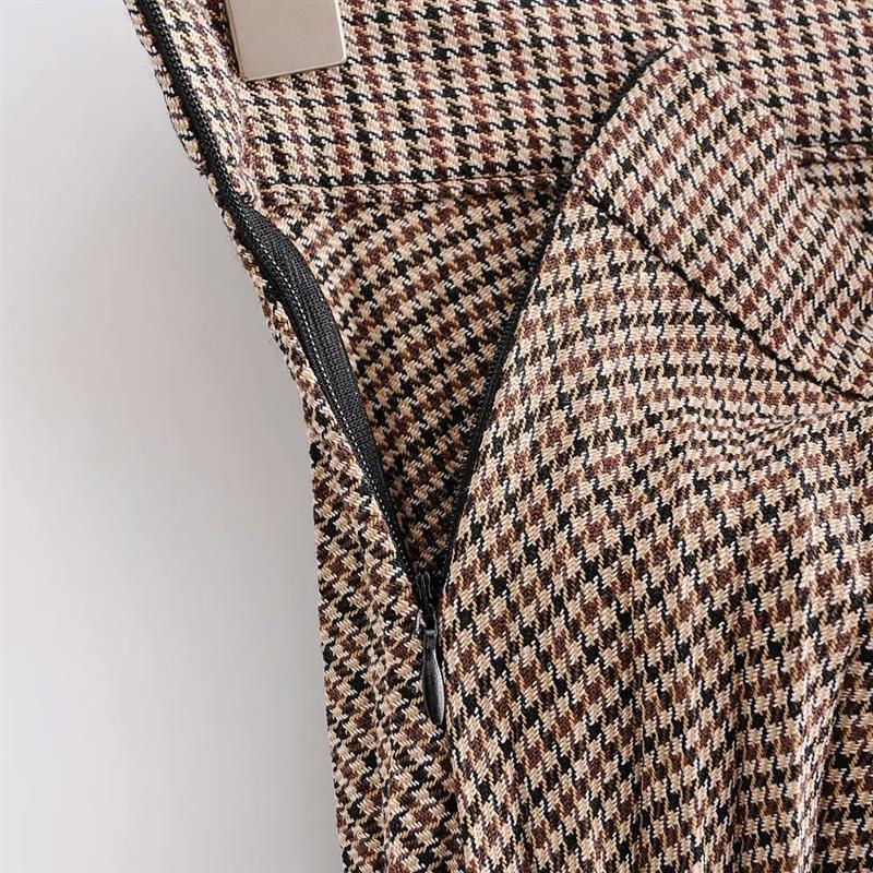 Herbst Frauen Plissee Rock Büro Dame Hohe Taille Plaid Lange Rock Seite Zipper A-linie Faldas 2018 Herbst Mode Streetwear