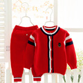 2016 primavera otoño invierno niños que arropan el nuevo estilo bebé niña set de 2 unidades de punto conjuntos de suéter de Muñeco de Nieve