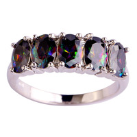 Women Delicate Jewelry Mysterious Rainbow Sapphire 925 Silver Fashion Ring Size 6 7 8 9 10 New Fashion 2015 Free Shipping
