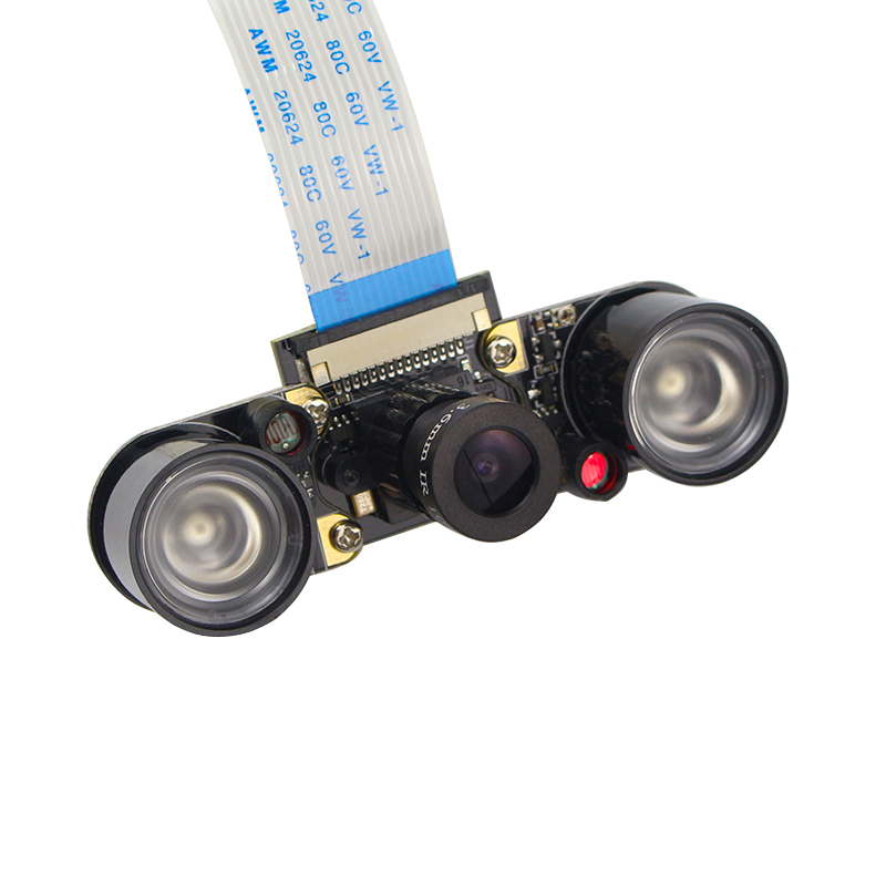 все цены на Raspberry Pi 3 B+ Camera Module Night Vision OV5647 5MP Adjustable Focal Camera (F)+ 2 Infrared Sensor LED Lights + 15cm FFC онлайн