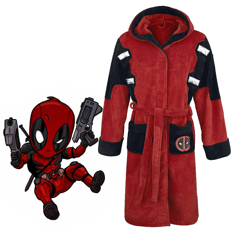 Superhero Deadpool Wade Wilson Bathrobe Cosplay Costume Adult Night Robe Sleepwear