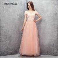 H & S BRIDAL Roze Off Schouder Lace Avond Prom Jurken Lange Elegante Vrouwen Goedkope Party Avondjurken