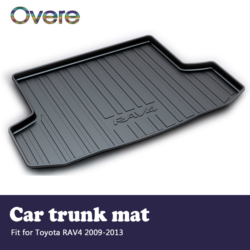 Overe 1Set Car Cargo rear trunk mat For Toyota RAV4 2009 2010 2011 2012 2013 Boot Liner Waterproof Anti-slip mat Accessories car auto accessories rear trunk trim tail door trim for subaru xv 2009 2010 2011 2012 2013 2014 abs chrome 1pc per set