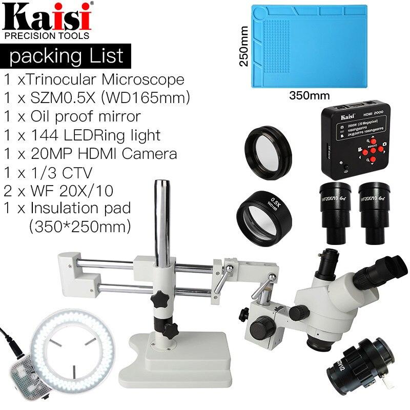 144 x-90X Dual Boom Stand Simul-Focal Trinocular estéreo microscopio 20MP HDMI Cámara Pc anillo de luz para teléfono PCB reparación