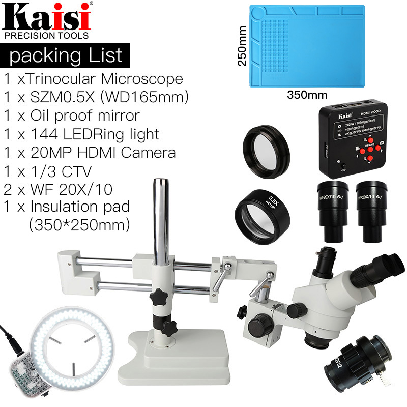 3.5X-90X Dupla Microscópio Estéreo Trinocular Boom Stand Simul-Focal 20MP HDMI camera 144 Pc Anel de luz Para telefone Reparação PCB