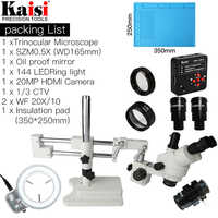 3.5X-90X Double Boom Stand Trinocular Stereo Microscope 20MP HDMI 1920x1080 Camera 144pc Ring Light SZM0.5X Objective lense