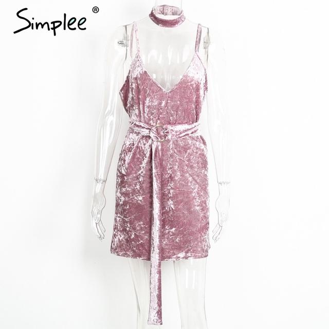 Simplee Choker velvet women dress Party short sexy dress V neck winter dress 2017 sundress with belt vestidos de festa