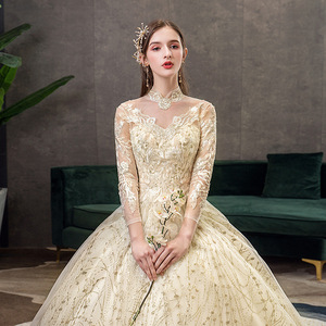 Image 5 - 2021 חדש זהב יוקרה ארוך רכבת גבוהה צוואר מלא שרוול תחרת Applique הניצוץ בתוספת גודל כלה שמלת Robe דה Mariee L
