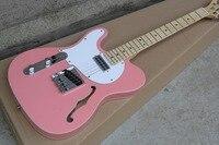 Пользовательские гитара завод Новые Пользовательские Розовый цвет Telecaster полый корпус Джаз левой руки электрогитара 10 25