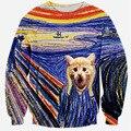 Alisister nova moda inverno 2017/outono animal cat camisola das mulheres/mens camisolas 3d hoodies clothing além de pintura a óleo tamanho