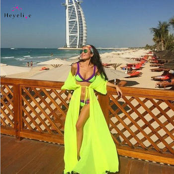 Sexy Long Bikini Cover Ups Women Dress Solid Chiffon Beach Tunic Swimsuits Cover Ups Summer Dress Vintage Beach Sarongs On Sale