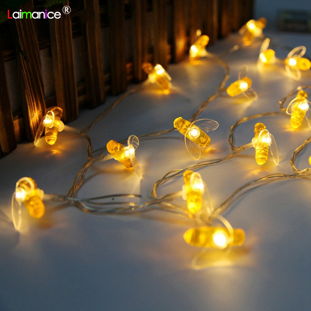1m 2m 3m 5m 10m Bee Led Light String Holiday Lights Garland Battery Operated Fairy Wedding