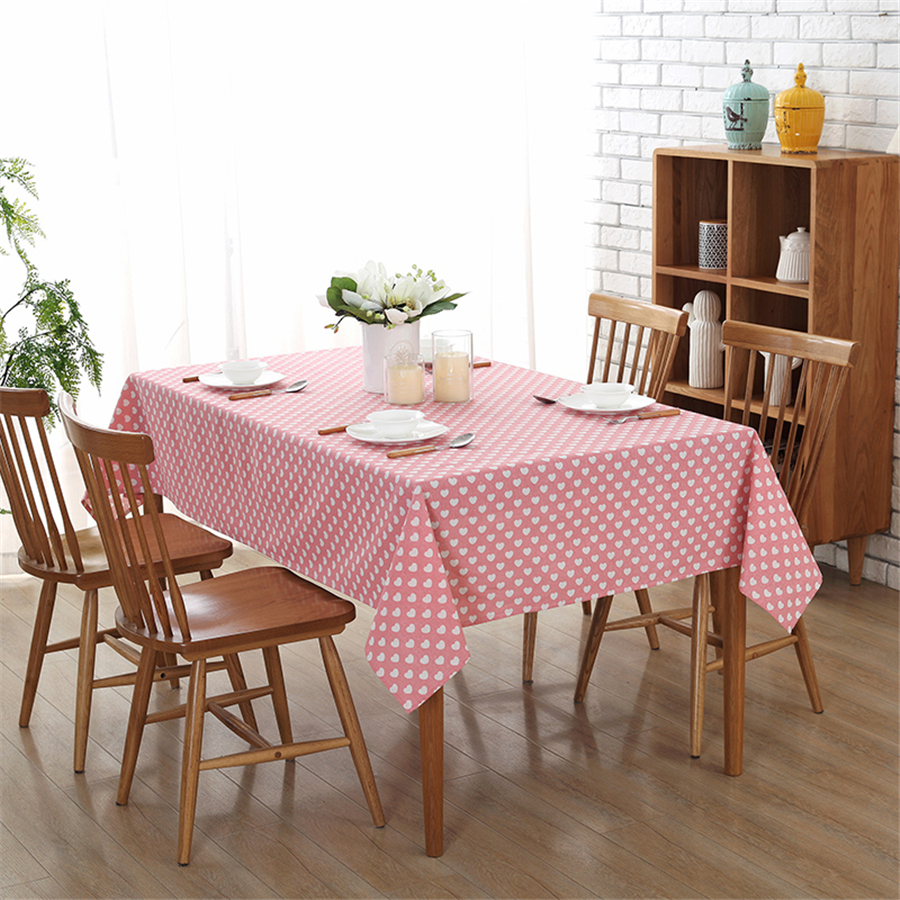 heart printed table cloth pastoral tablecloth home decoration party pink dustproof table cloth covers toalha de