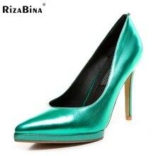 ผู้หญิงหนังแท้ของแท้รอบนิ้วเท้ารองเท้าส้นสูงเซ็กซี่แบรนด์แพลตฟอร์มส้นปั๊มส้นรองเท้ารองเท้าขนาด34-39 R08716