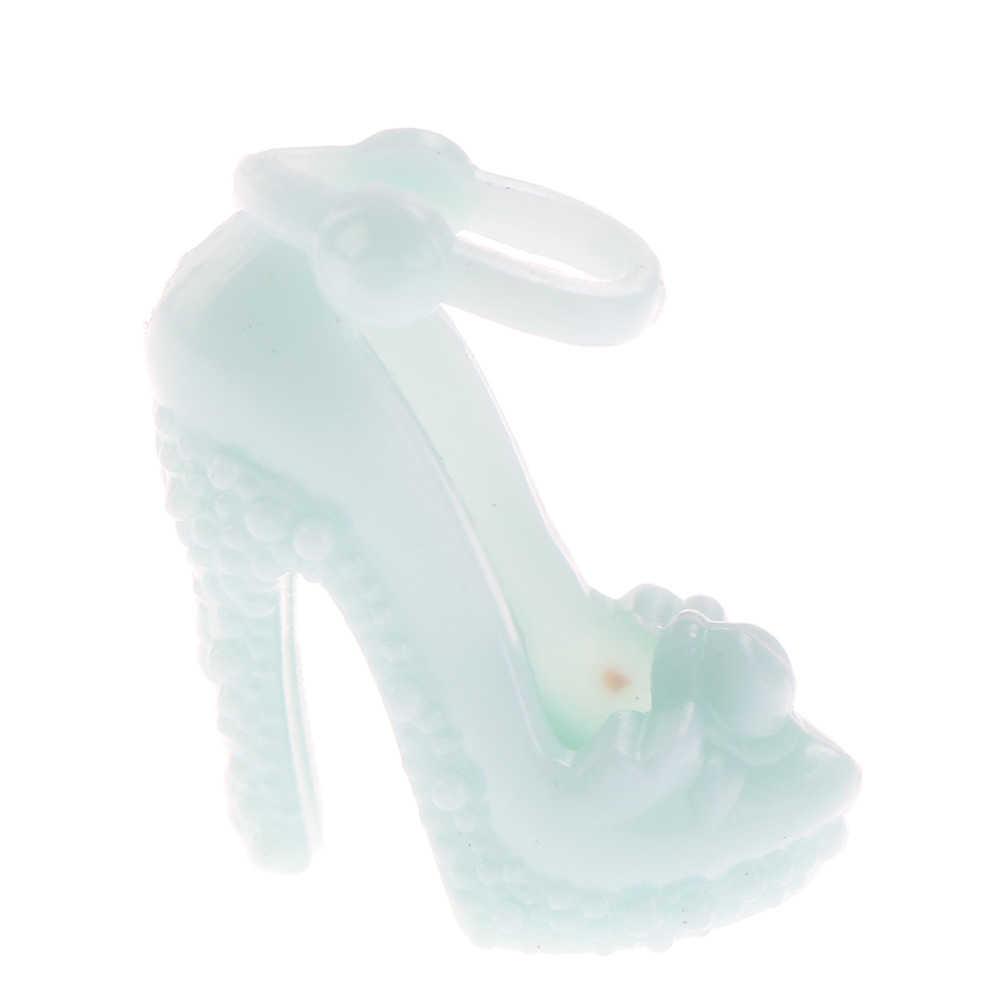 10 זוגות אופנה צבעוני סנדלי עותק קריסטל גבוהה עקבים נעלי בובת אביזרי בגדי שמלת אבזר חם מגוון