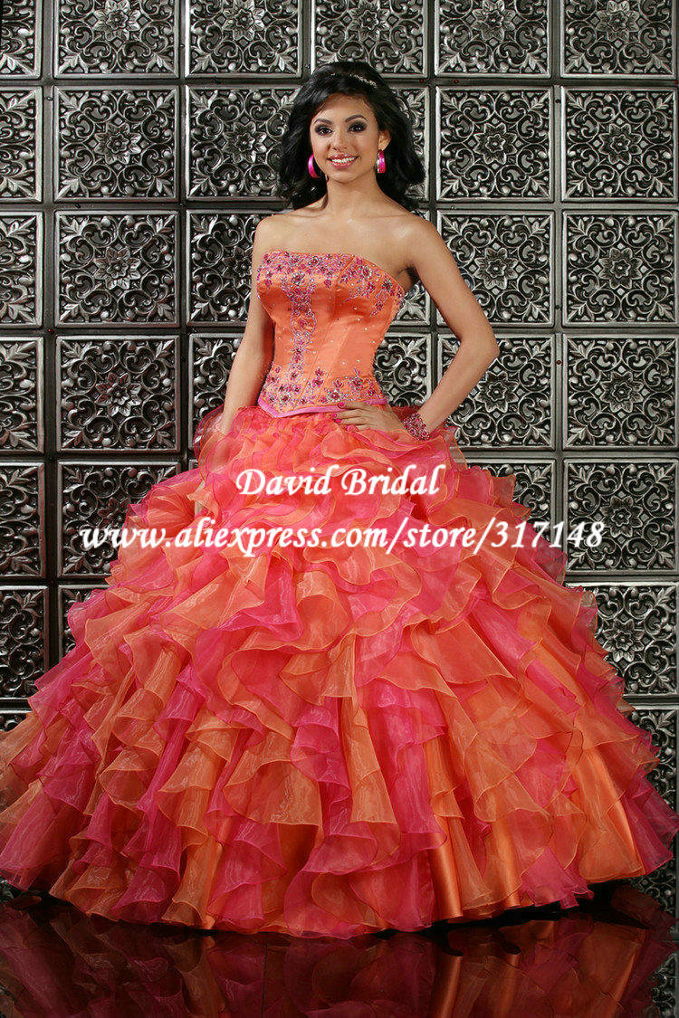 Fashion design beaded ball gown puffy ruffle hot pink and for Pink and orange wedding dresses