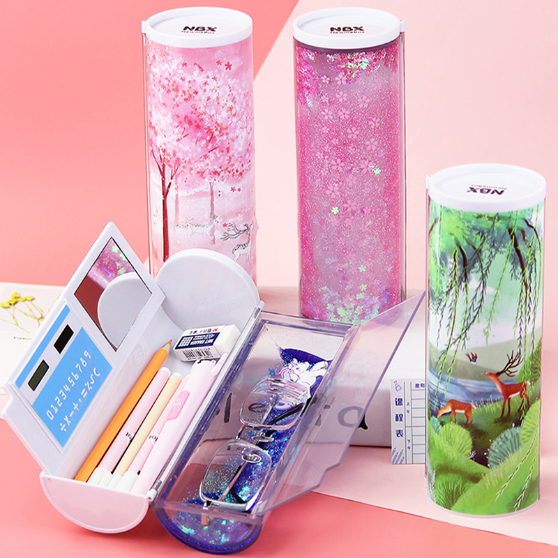 Image 2 - Quicksand Translucent Creative Multifunction Cylindrical Pencil Box Case 2019 school Stationery Pen Holder Pink Blue calculator-in Pencil Cases from Office & School Supplies