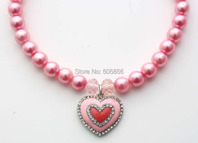 Pink pet pearls necklace collar with rhinestones heart charm,dog jewelry/S M L