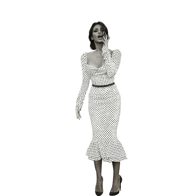 Elegant White Knotted Strap Polka-dot Mermaid Hem Summer Pencil Midi Dress Women Slim Bodycon Office Lady Ruffle Dresses 3