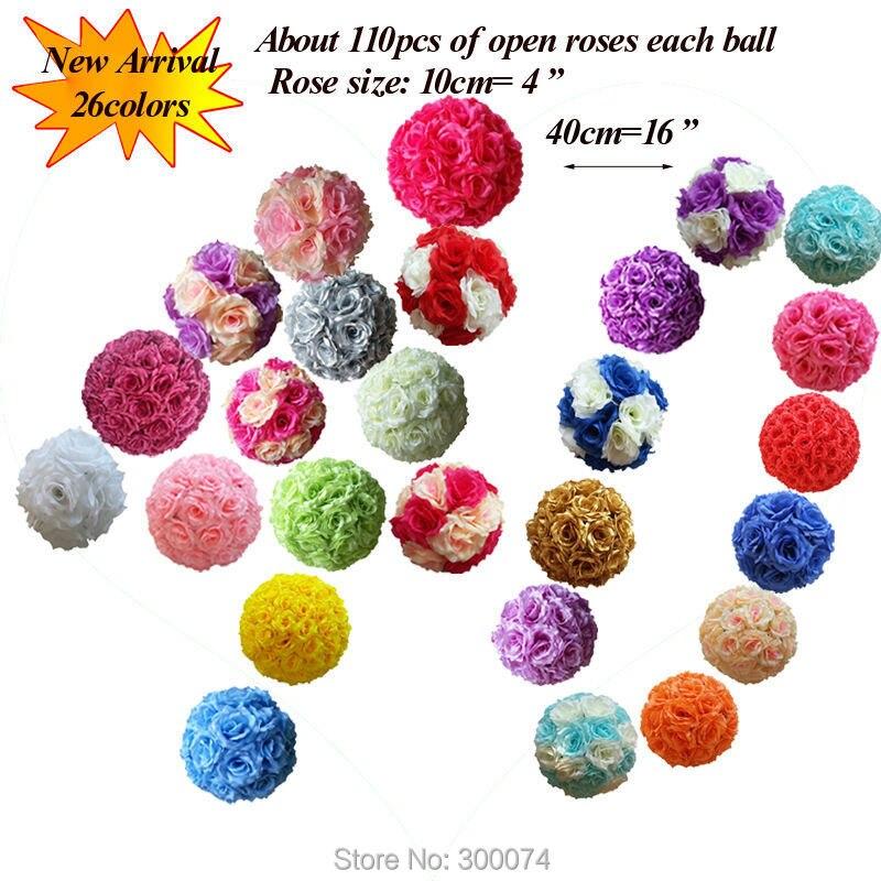 40 см 4 шт./упак. Бесплатная EMS искусственный цветок мяч шелк для брака украшения праздничные и вечерние поставки центральными свадьбу bodas