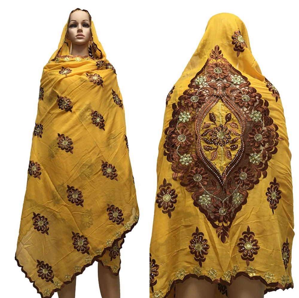 African Women   Scarf   muslim women embroidery big COTTON   scarf   design on the black nice   scarf   for shawls   wraps   BM636