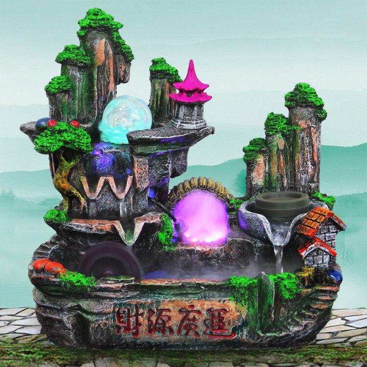 Rocaille maison fontaine Feng Shui ornements cadeaux créatifs eau qui coule Feng Shui petites Figurines et Miniatures bonsaï