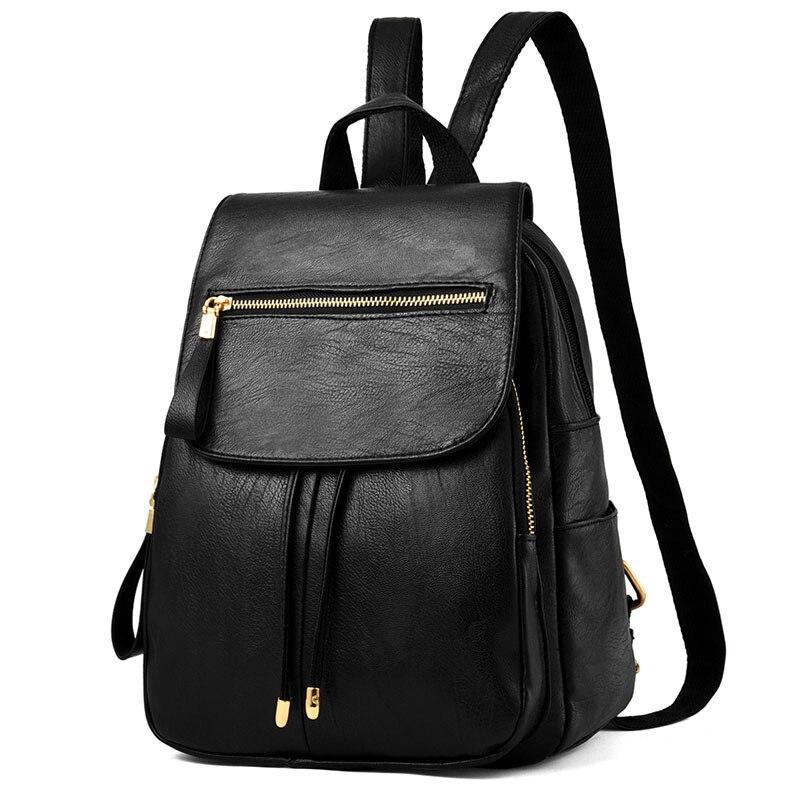 Petrichor Zipper gland grande capacité femmes sac à dos PU cuir voyage dames sac à bandoulière femme sac à main fille sac d'école Mochila