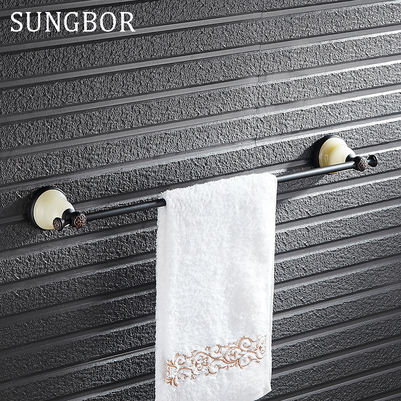 Natural jade Style oil rubbed bronze Bathroom Towel Rack Holder single Towel Bars Solid Brass Wall Mounted Rack Holders SY-4810H factory retail antique brass oil rubbed bronze toothbrush holder w single ceramic cups