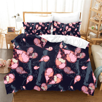 Comfortable black bedding set AU Queen size Heart-shaped pattern duvet cover set 3D Bedclothes king size Quilt cover Bed line