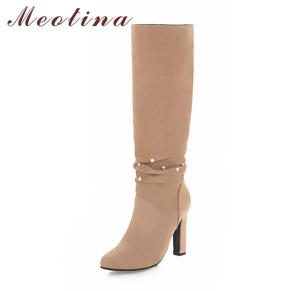 47d37801e ... Meotina Winter Pleated Boots Women Knee High Boots Pearl Thick Heels  Boots Ladies Fashion Long Shoes ...
