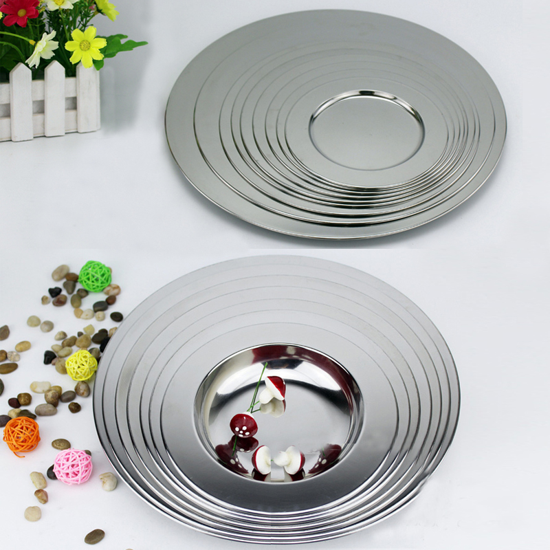 Broadside Multipurpose Soup Dish Stainless Steel Dinnerware Dinner Plate Flat Plate Tableware Vegetables Fruit Dish Soup plate
