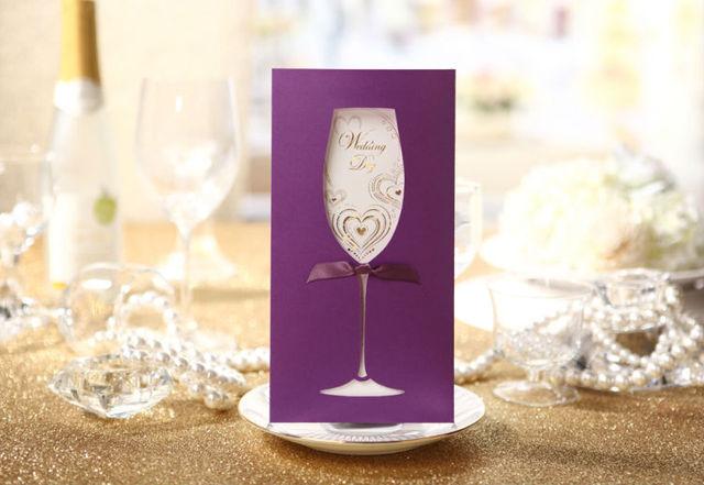 1 Set Sample Purple Stylish Wedding Invitation Card 1 Envelope1