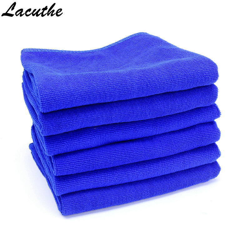 5 PCS 30x30cm Blue Absorbent Wash Cloth Car Auto Care Microfiber Cleaning Towels Car-styling Automobiles Motocycle Car Accessory