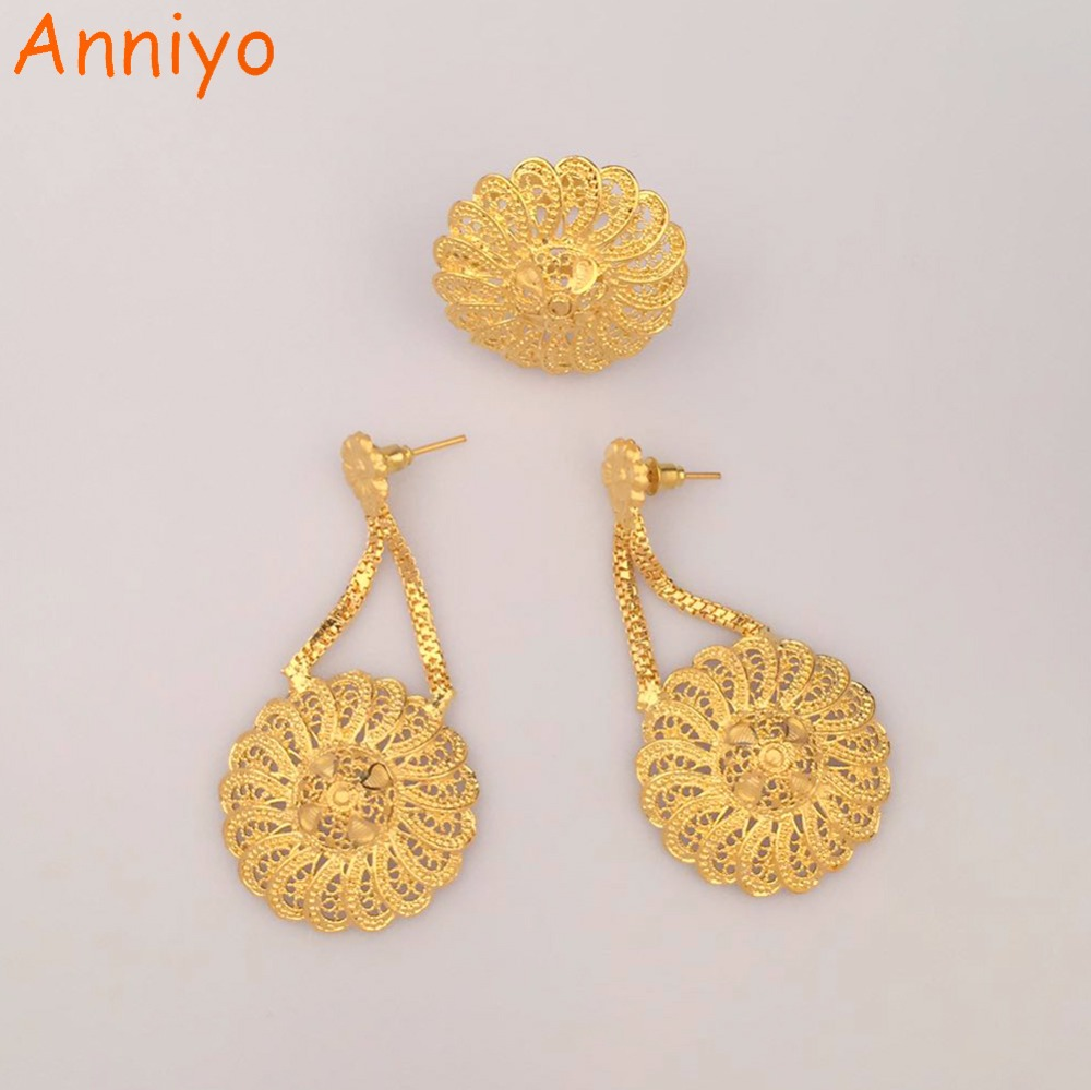 Anniyo Dubai Earrings And Free Size Rings For Women, African Wedding Style  Gold Color &