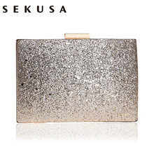 SEKUSA Sequined Luxurious Women Handbags Shoulder Small Day Clutch Metal Phone Pocket Evening Bags Party Wedding Bridal Clutches(China)