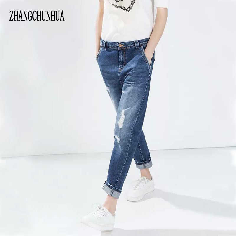 ZHANGCHUNHUA Jeans Boyfriend Torm Jeans For Women 2017 New Arrival Womens Jeans Women s Trousers for