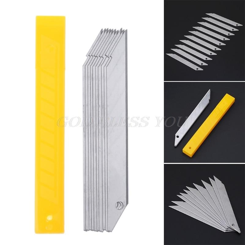 10PCS/Box 30 Degrees Cutter Blade Trimmer Sculpture Blade Utility Stainless Steel Paper Cutter School Supplies