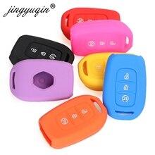 Jingyuqin 3 כפתורי עור סיליקון מרחוק מפתח מקרה עבור רנו הדאסטר Sandero Logan קליאו Captur Laguna סניק Fob מחזיק כיסוי