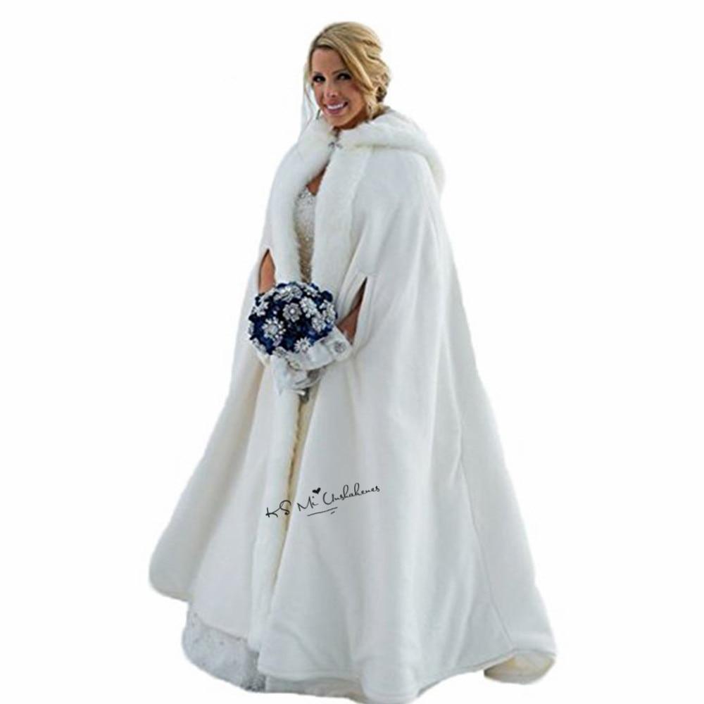 Mode Wunderschöne Cape Winter Braut Shrug Hochzeit Jacke Lange Mantel Wraps Mit Kapuze Party Wraps Jacke Hochzeit Zubehör Weddings & Events
