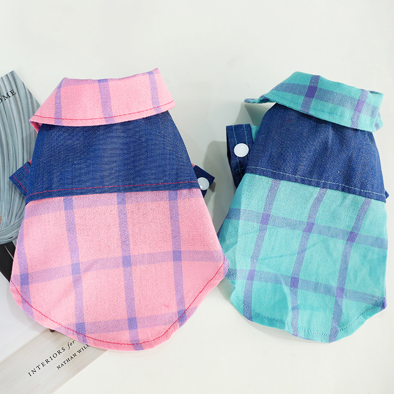 2019 Puppy Pet Dog Clothes Denim Stitching Plaid Shirt Clothing Spring and Summer Jackets Apparel T-shirts for Small Dog Product