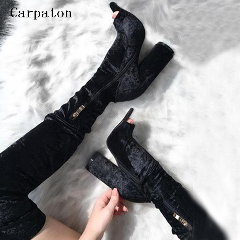 Black Suede Over the Knee Boots Sexy Women Thigh High Peep Toe High Chunky Heel Ladies Dress Party Nightclub Zippered Boots