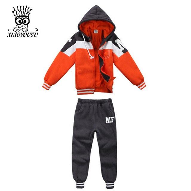 XIAOYOUYU Размер 90-130 см Активность Стиль Мальчики Спортивная Повседневная Детская Одежда Набор Дети Весна Спортивная Устанавливает Капюшоном Пальто + брюки