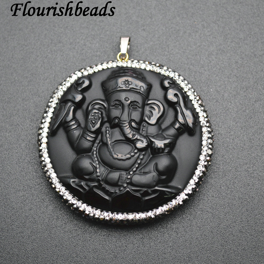 Natural Black Obsidian Carved Elephant Ganesha Stone Pendants Paved Black Crystal Beads Jewelry