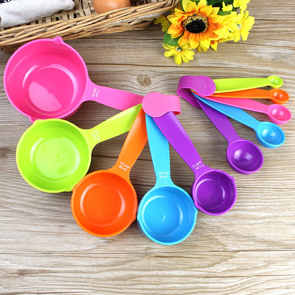 Colour 5Pcs/Set Measuring Spoons Spoon Set Durable Cups Tablespoons Tools Baking Gadget Flour Coffee Kitchen Plastic