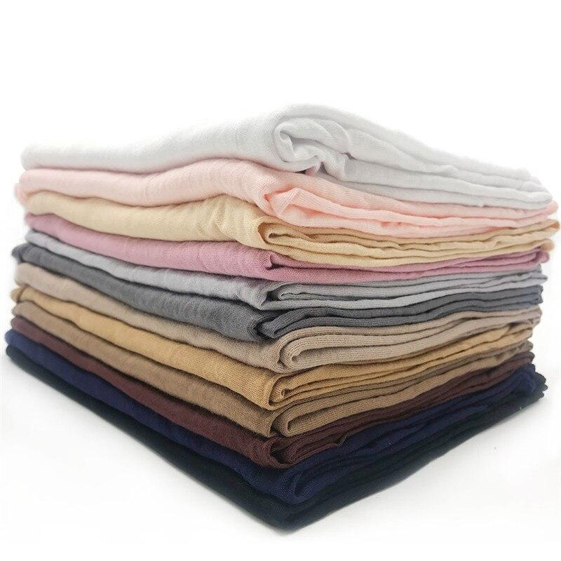 Jersey Scarf Women Solid Color Elasticity Cotton Shawls Elegant Modest Muslim Hijab Scarf Large Size Good Quality Scarves Shawl